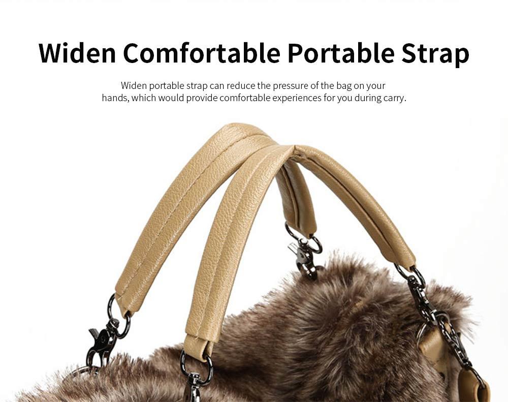 Luxury Fashion Warm Plush Women Bag with Three Methods of Use, Tote Messenger Crossbody Shoulder Bag Satchel Handbag 7