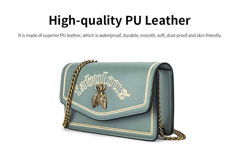 Vintage Embroidery Small Women Bag with Metal Bee Decoration, Ladies Shoulder Bag Clutch Handbag with Metal Chain 1