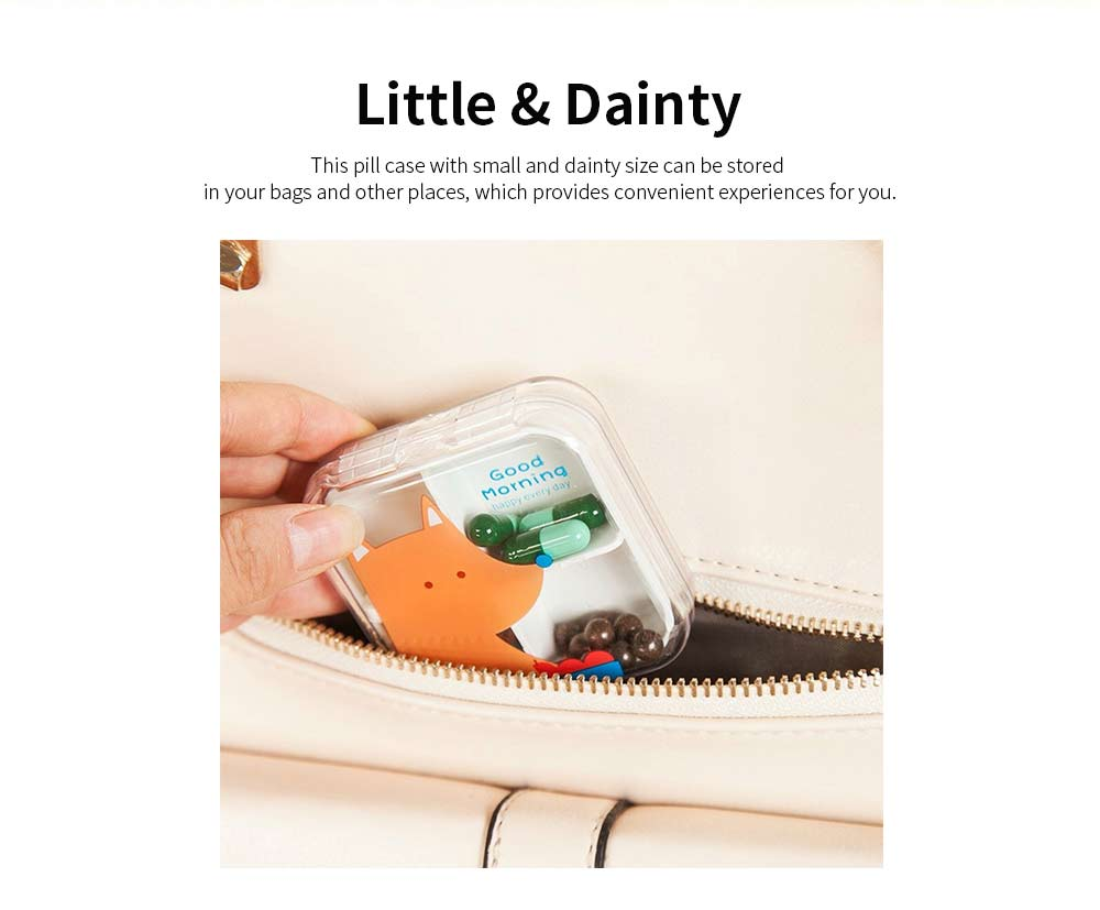 Cartoon Animal Cute Pill Box, Best Travel Pill Container for Daily Use, 4 Grids 3