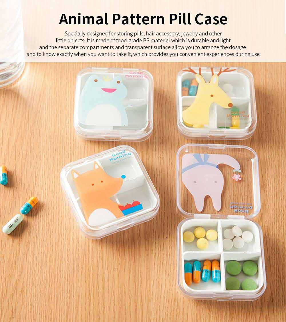 Cartoon Animal Cute Pill Box, Best Travel Pill Container for Daily Use, 4 Grids 0