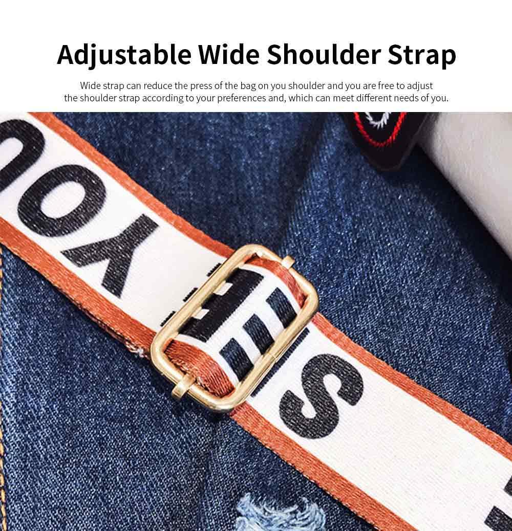 Embroidery Thread Boston Small Bag, Fashion Vintage Minimalist Ladies Shoulder Bag Handbag with Wide Shoulder Strap 3