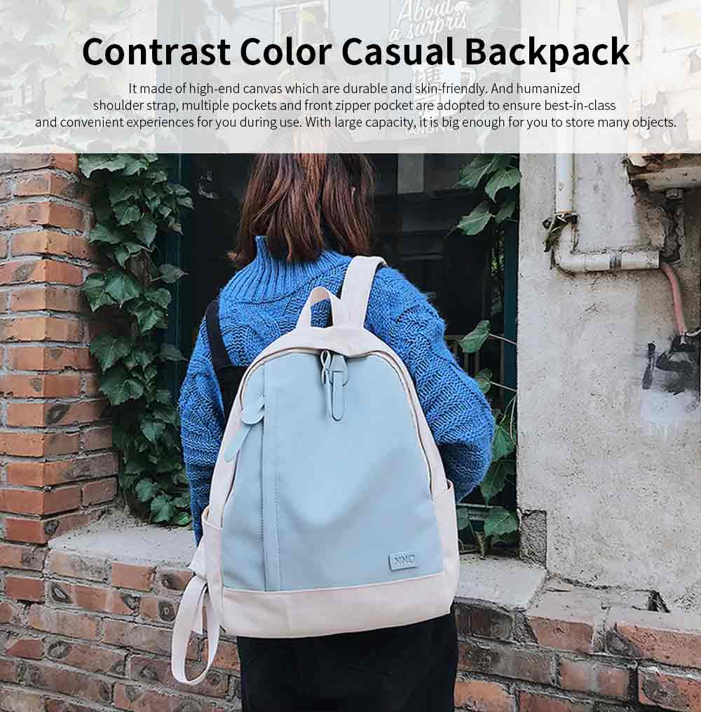 Fashion Contrast Colors Canvas Casual Backpack, Large Capacity Laptop Bag Travelling Backpack with Functional Front Pocket 0