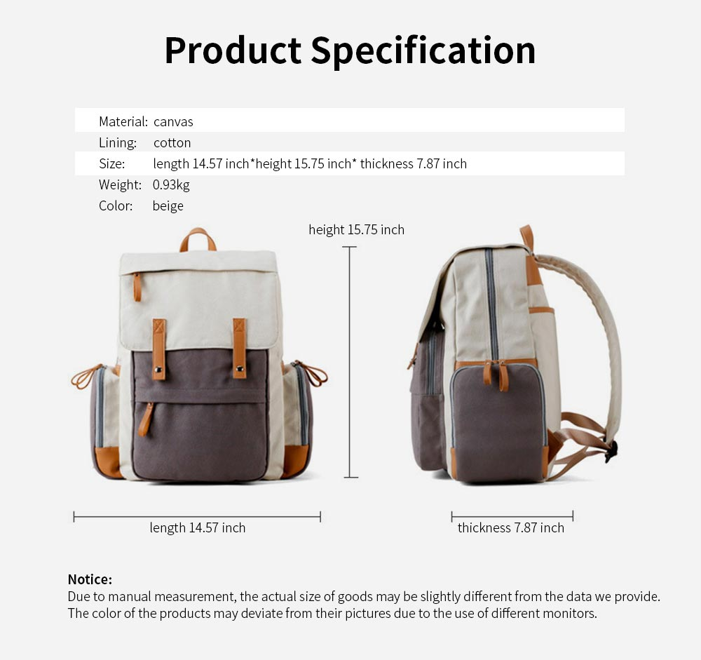Multifunctional Tactical Pouch Cotton Canvas Backpack, Minimalist Casual Travelling Bag Laptop Bag, Large Capacity 8