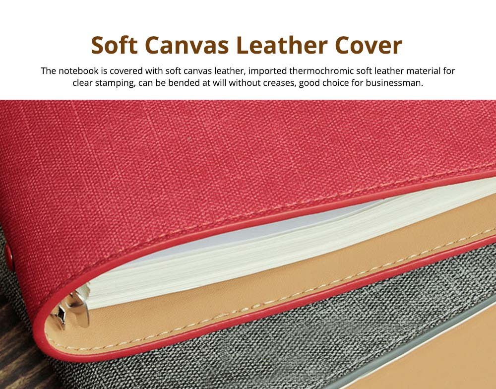 Loose-leaf Magnetic Buckle Notebook, Uncoated Woodfree Paper Binder, Modern Canvas Texture Leather, 160 Pages 2