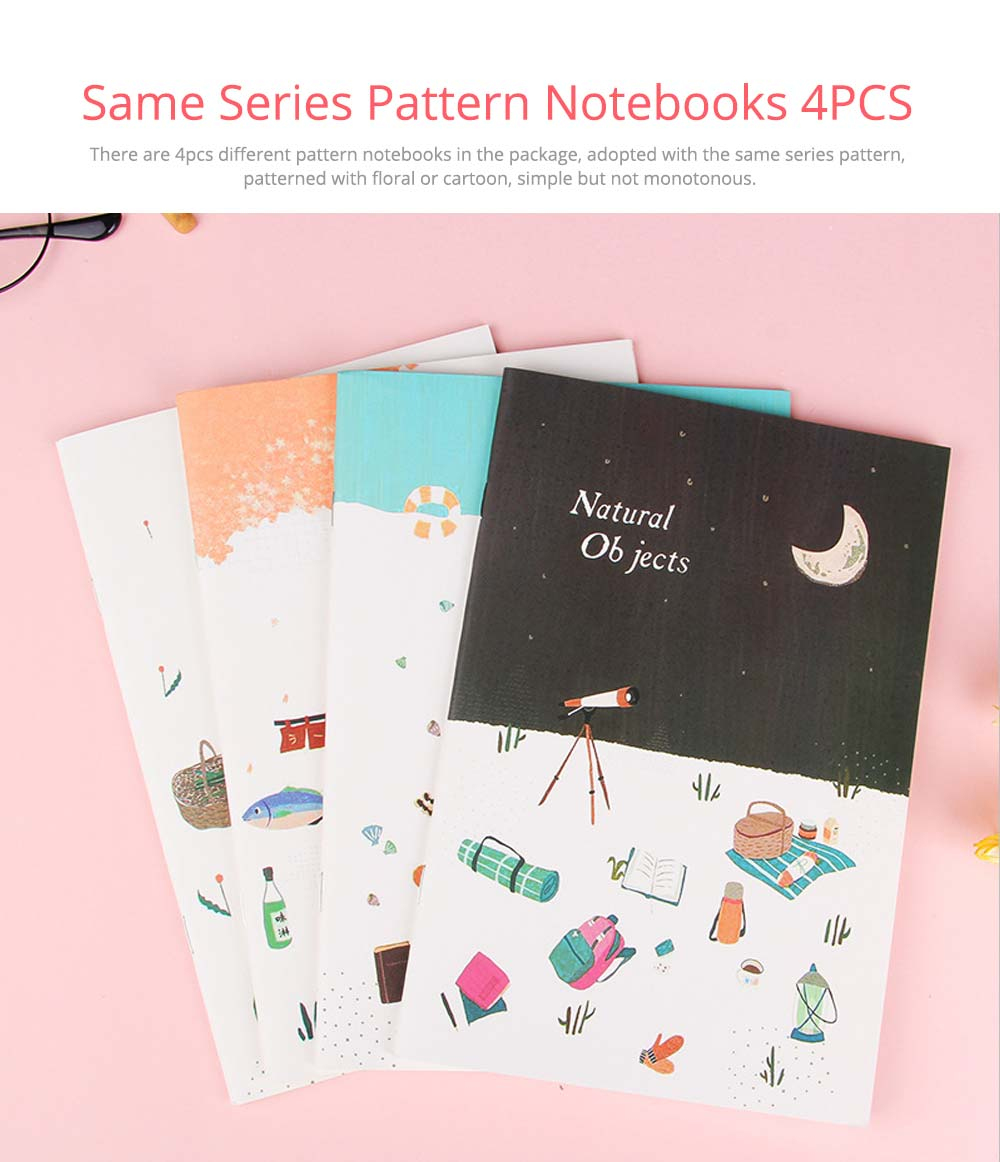 Fresh Style Thin Notebook, 60 Pages Journal Environmental Paper Cover Cartoon Floral Student Diary Jotter, 4PCS 1