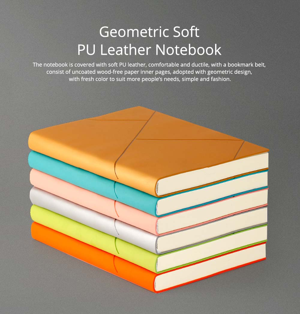 Fashion Geometric Soft PU Leather A5 Notebook Journal Diary, Uncoated Wood-free Paper Schedule Planner Memo Organizer 0
