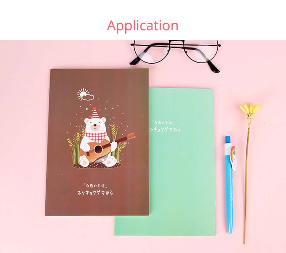 Fresh Style Thin Notebook, 60 Pages Journal Environmental Paper Cover Cartoon Floral Student Diary Jotter, 4PCS 7