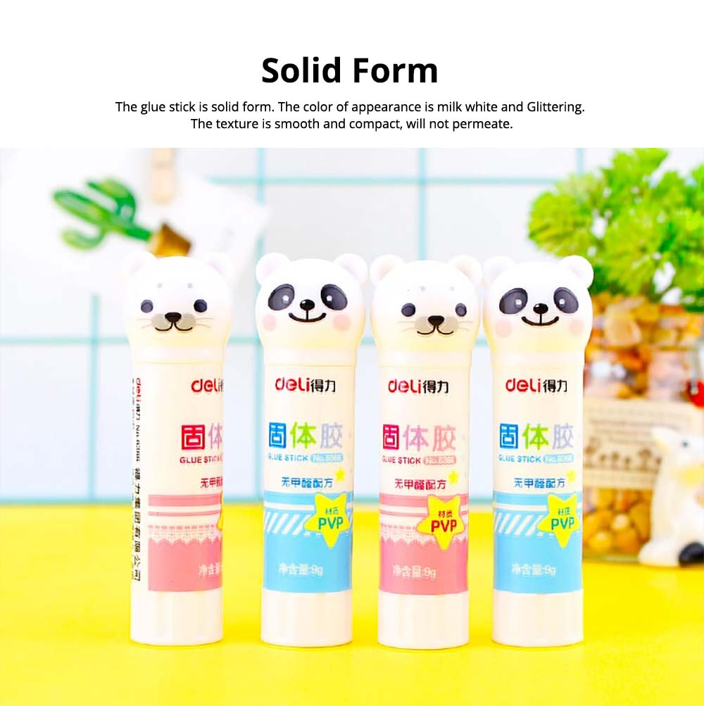 Cute Cartoon PVP Solid Glue Stick, Strong Paper Adhesive School & Office Supplies, 9g 1