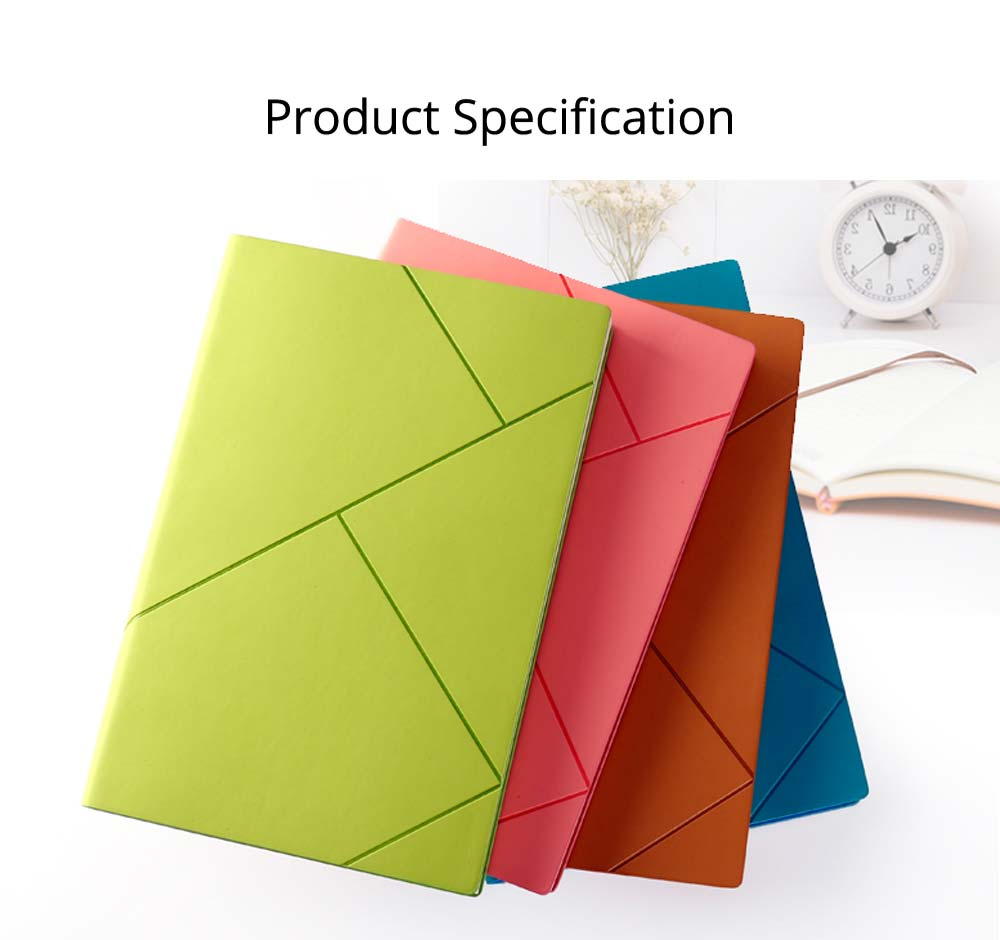 Fashion Geometric Soft PU Leather A5 Notebook Journal Diary, Uncoated Wood-free Paper Schedule Planner Memo Organizer 7