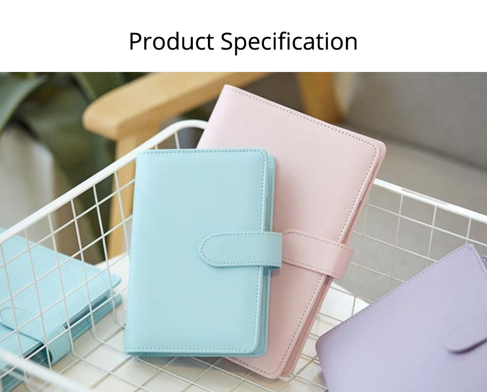 Multifunctional Loose-leaf Magnetic Buckle Notebook, A5/A6 Diary Jotter with Built-in Card Bag 6