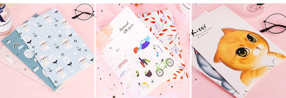 Fresh Style Thin Notebook, 60 Pages Journal Environmental Paper Cover Cartoon Floral Student Diary Jotter, 4PCS 9