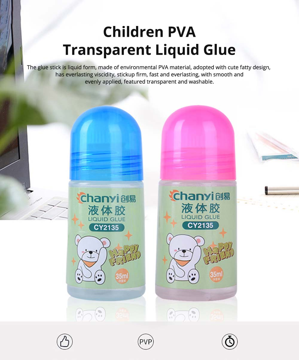 Environmental PVA Washable Transparent Viscose Liquid Glue Water, 35ml Children's Cute Office Supplies 0