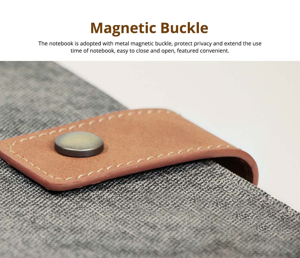 Loose-leaf Magnetic Buckle Notebook, Uncoated Woodfree Paper Binder, Modern Canvas Texture Leather, 160 Pages 4