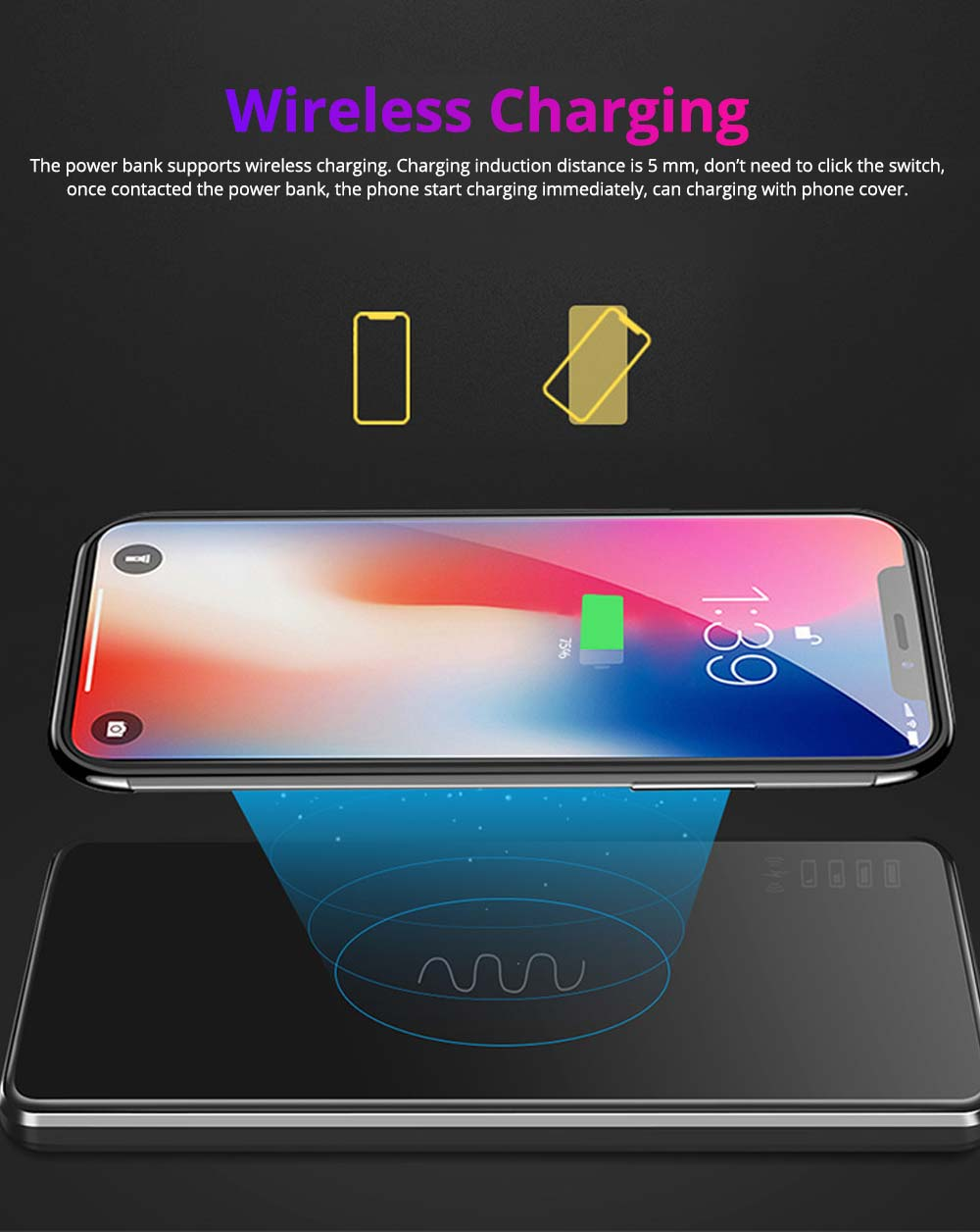 Aluminum Alloy 10,000mAh Wireless Charging Power Bank, Portable External Battery Acrylic Charger for Cell Phone 6