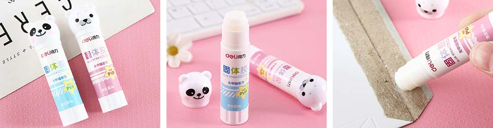 Cute Cartoon PVP Solid Glue Stick, Strong Paper Adhesive School & Office Supplies, 9g 8