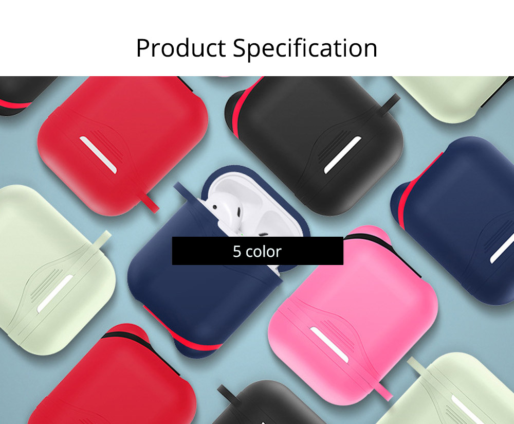 Soft Smooth Silicone Airpods Protective Case, Waterproof Anti-skid Earphone Protector Pouch Cover with Mental Hook 10