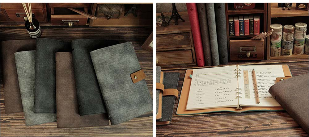 Loose-leaf Magnetic Buckle Notebook, Uncoated Woodfree Paper Binder, Modern Canvas Texture Leather, 160 Pages 7