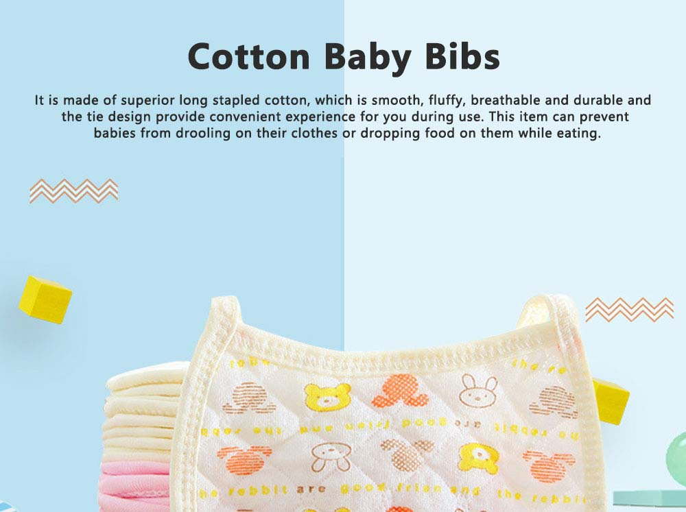 Luxury Smooth Cotton Baby Bibs, Insular Bids for New Born Babies, Cartoon Painting Soft Pinafore for Infant 0