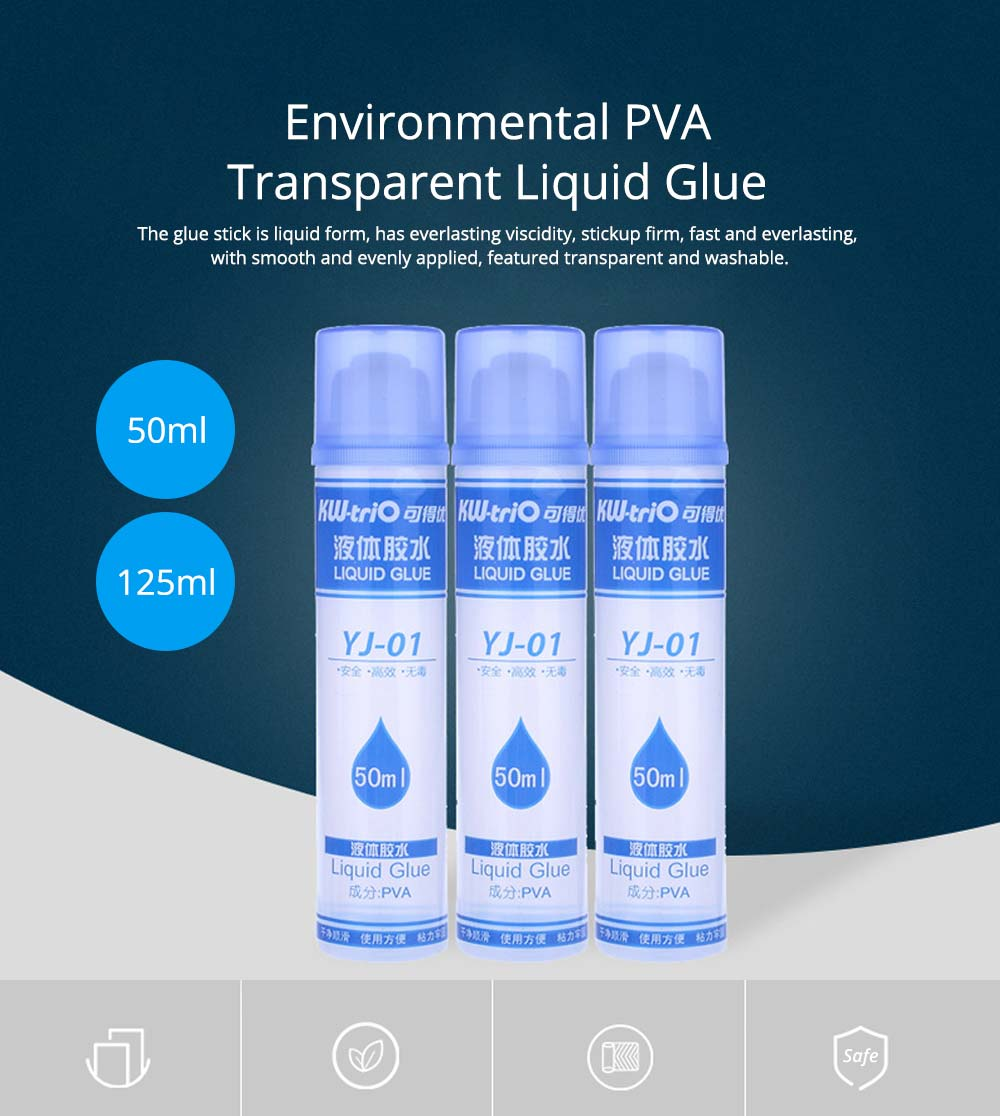 Environmental PVA Washable Transparent Viscose Liquid Glue Water, 50ml/125ml 0