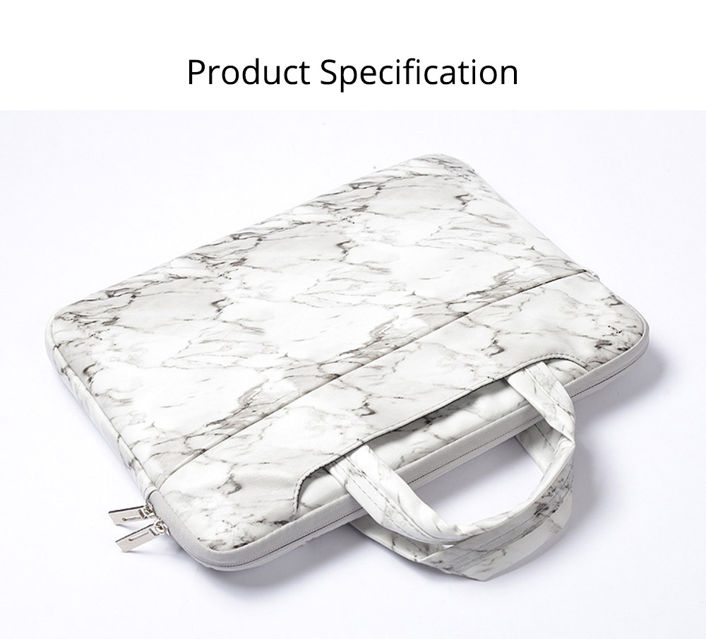 Marble Pattern Stylish Laptop Notebook Handle Bag, Waterproof Protective Felt Laptop Sleeve Bag with Belt Pouch 15