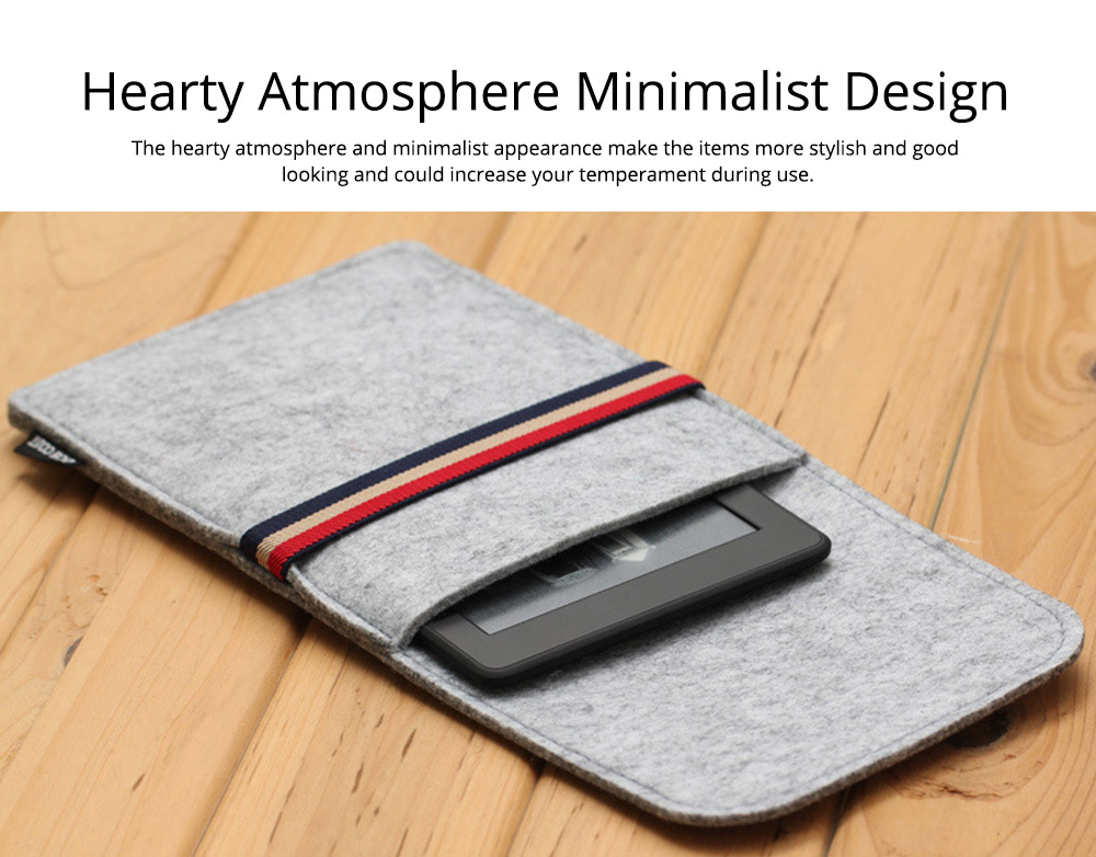 Stylish Tablet Laptop Protective Sleeve for Kindle, Soft Smooth Wool Felt Laptop Notebook Bag with Protective Belt 4