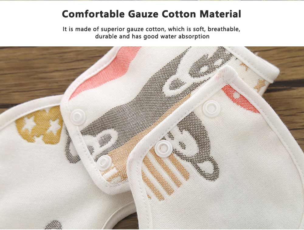 Cartoon Gauze Cotton Baby Bibs, Newborn Baby Infant Toddler Cartoon Towel, U Type Dribble Feeding Birds 1
