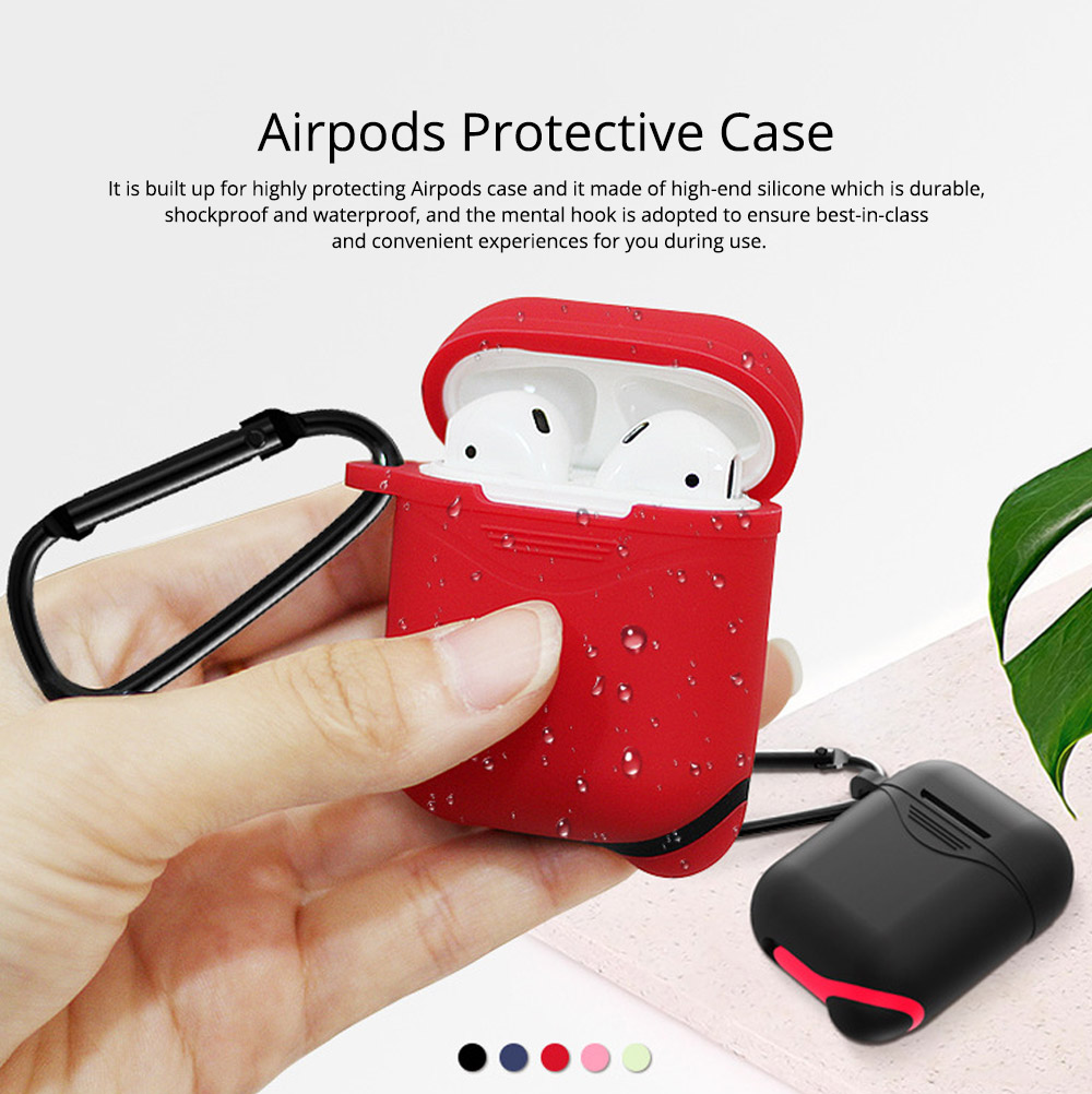 Soft Smooth Silicone Airpods Protective Case, Waterproof Anti-skid Earphone Protector Pouch Cover with Mental Hook 0