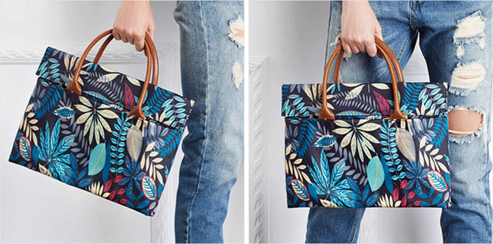 Water-proof Canvas Floral Pattern Laptop Ultrabook Sleeve Chase Bag Cover, Pouch Laptop Bag for Different Size of Computers 10