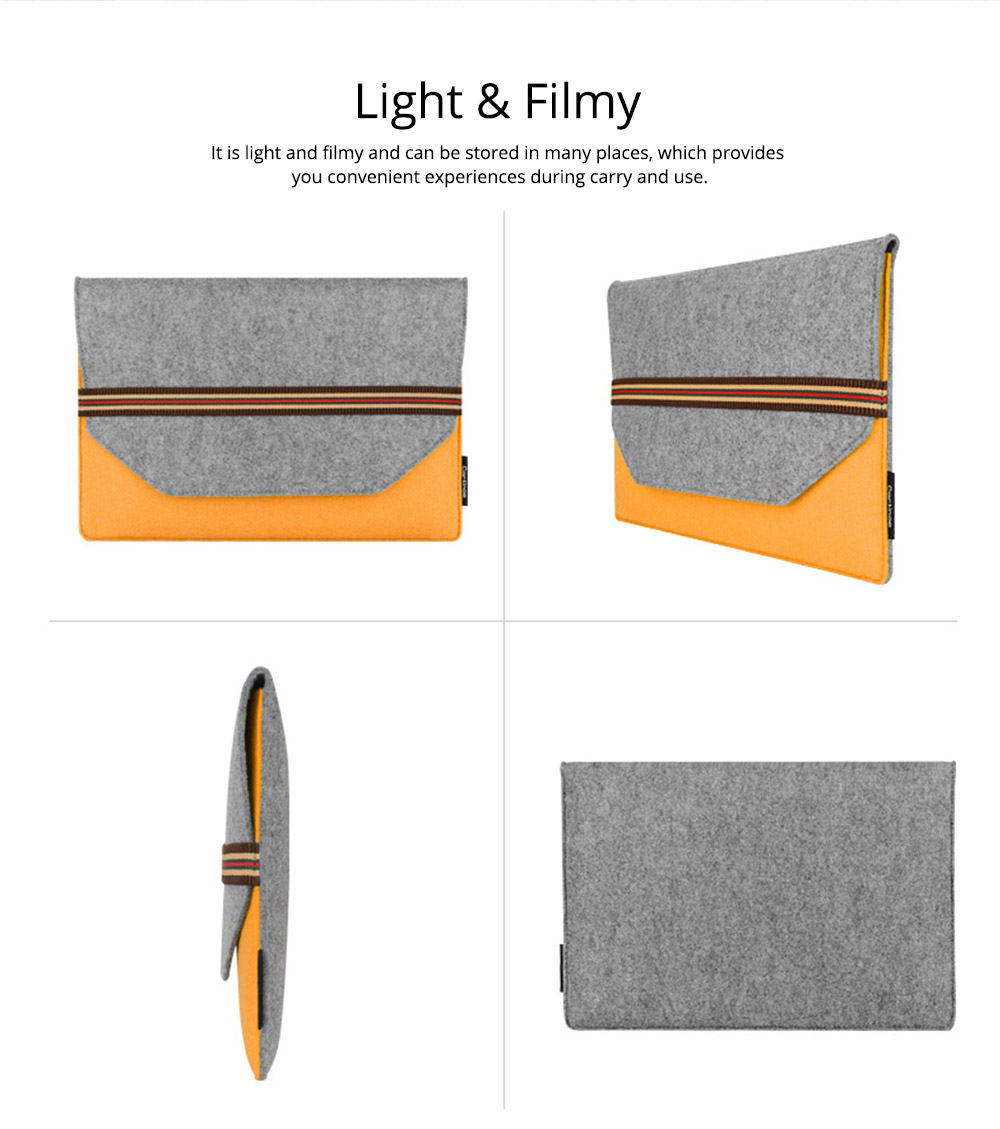 Soft Smooth Imported Wool Felt Tablet Laptop Protective Sleeve, Stylish Laptop Notebook Bag with Protective Belt 14