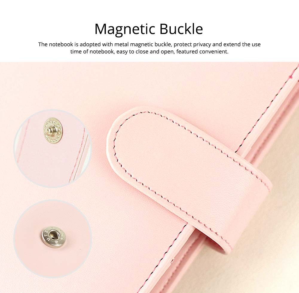 Multifunctional Loose-leaf Magnetic Buckle Notebook, A5/A6 Diary Jotter with Built-in Card Bag 5