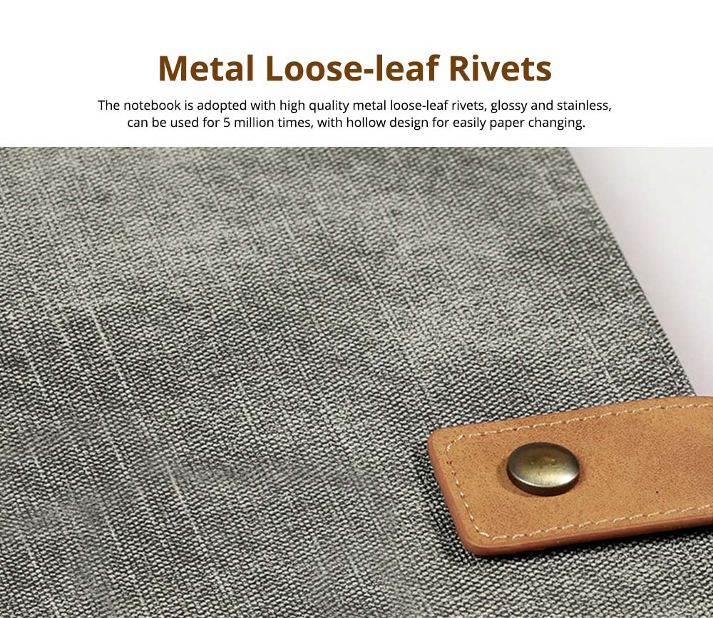 Loose-leaf Magnetic Buckle Notebook, Uncoated Woodfree Paper Binder, Modern Canvas Texture Leather, 160 Pages 1
