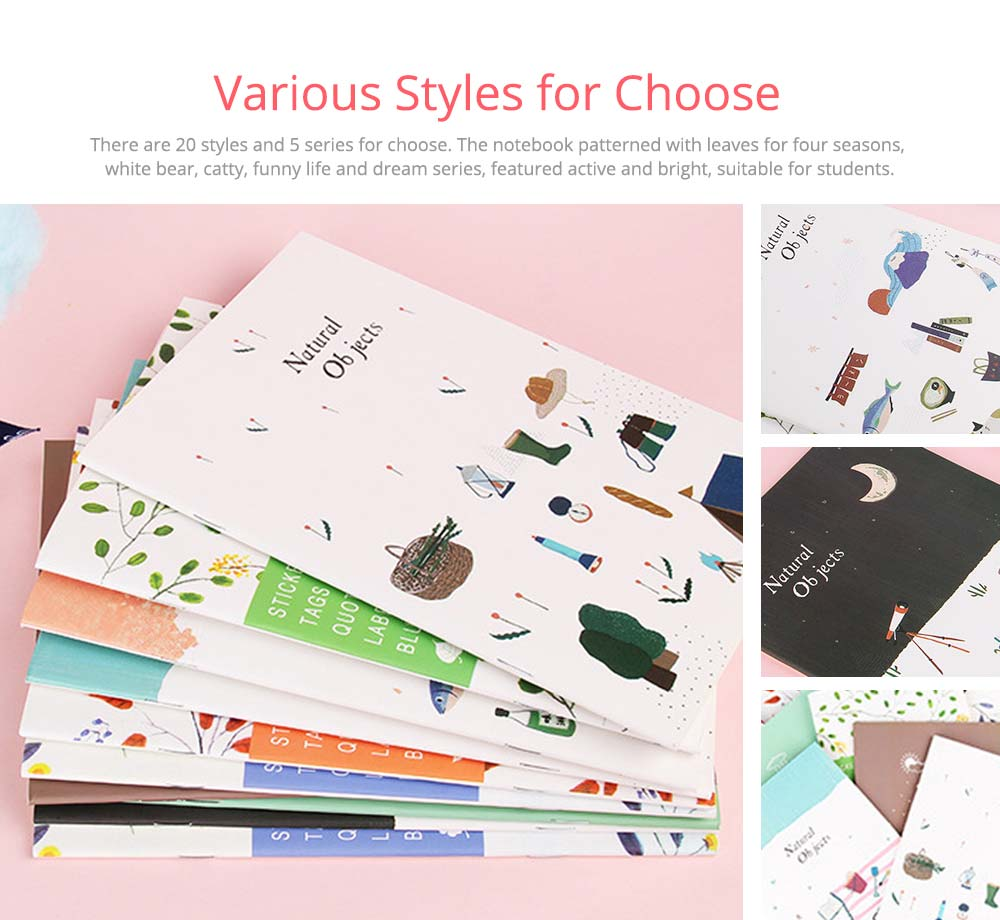 Fresh Style Thin Notebook, 60 Pages Journal Environmental Paper Cover Cartoon Floral Student Diary Jotter, 4PCS 6