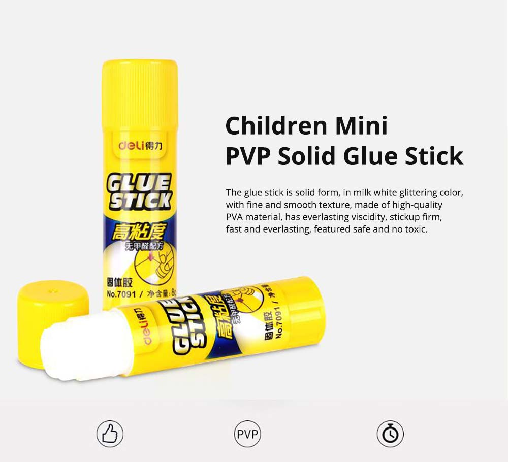 White Solid Glue Sticks, Children Mini Stationery Washable PVP High Viscosity Strong Adhesives, 8g 0