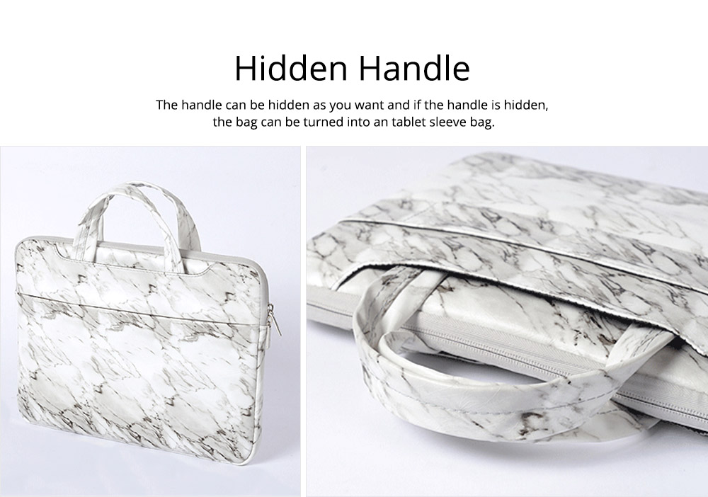 Marble Pattern Stylish Laptop Notebook Handle Bag, Waterproof Protective Felt Laptop Sleeve Bag with Belt Pouch 11