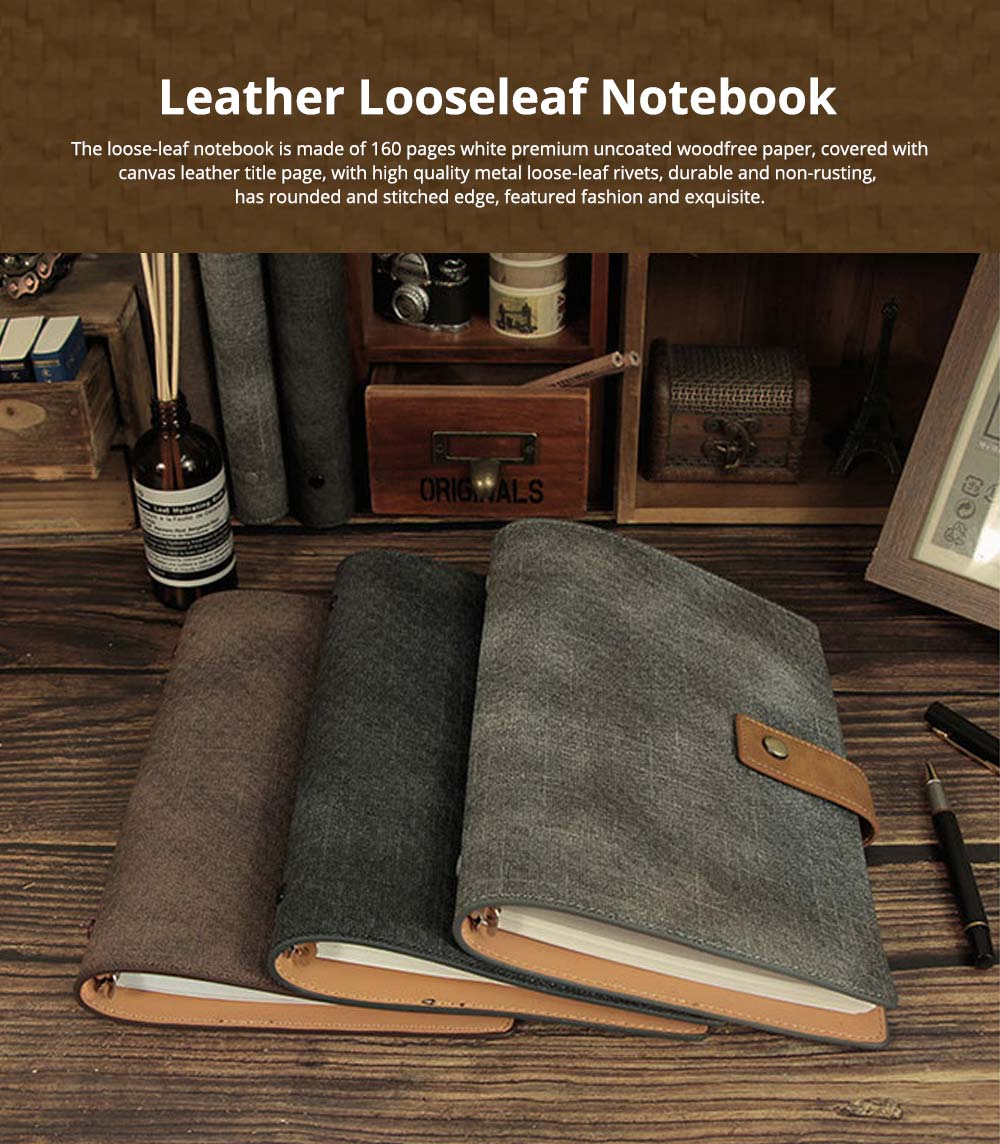 Loose-leaf Magnetic Buckle Notebook, Uncoated Woodfree Paper Binder, Modern Canvas Texture Leather, 160 Pages 0