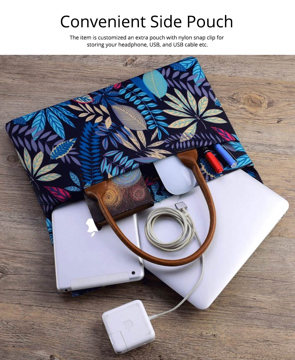Water-proof Canvas Floral Pattern Laptop Ultrabook Sleeve Chase Bag Cover, Pouch Laptop Bag for Different Size of Computers 11
