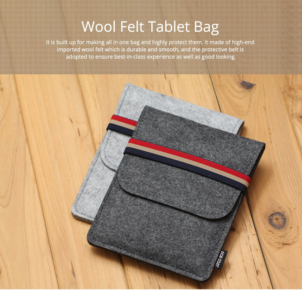 Stylish Tablet Laptop Protective Sleeve for Kindle, Soft Smooth Wool Felt Laptop Notebook Bag with Protective Belt 0