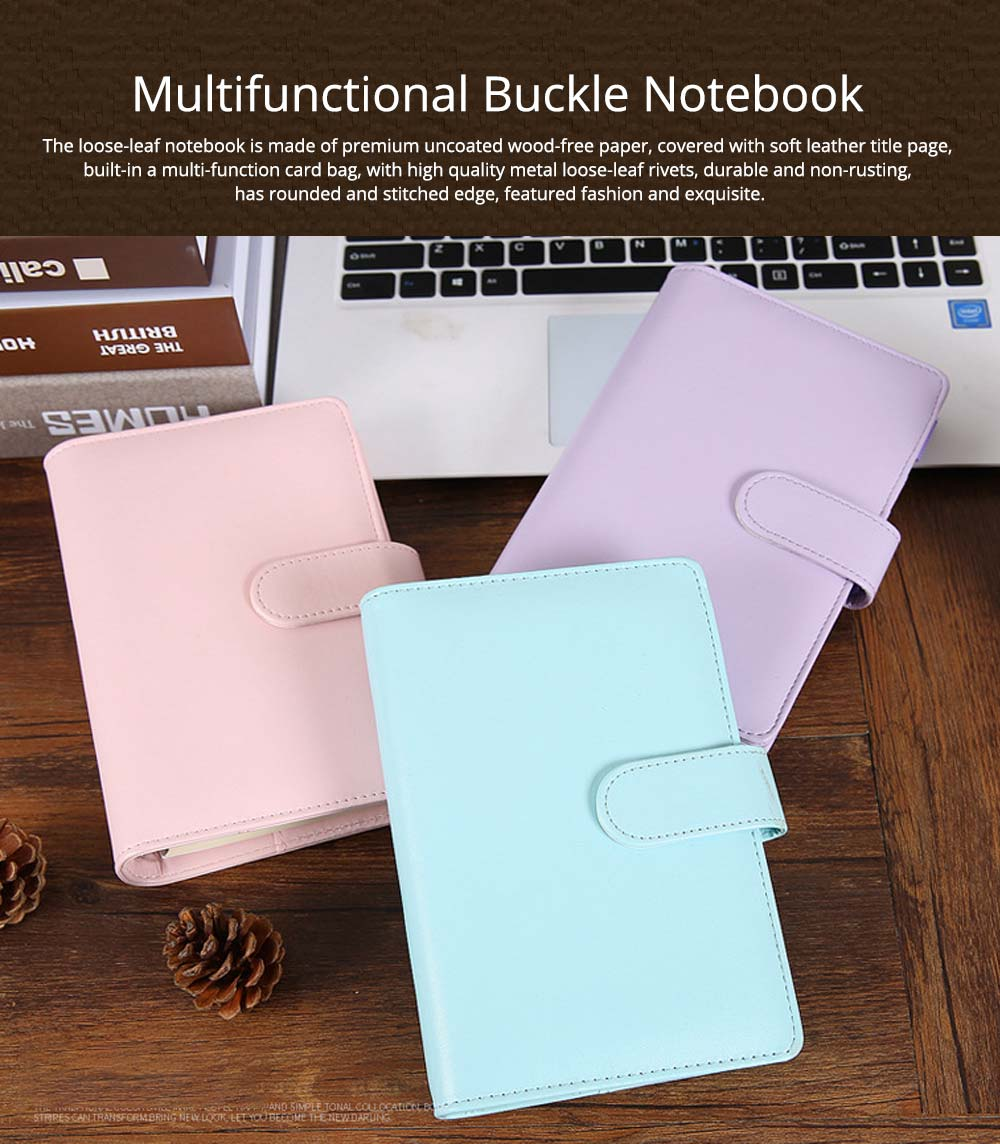 Multifunctional Loose-leaf Magnetic Buckle Notebook, A5/A6 Diary Jotter with Built-in Card Bag 0