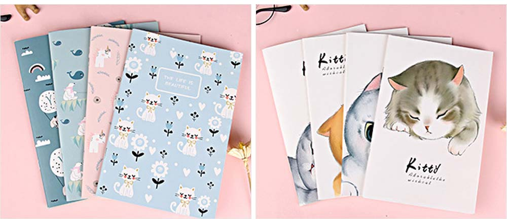 Fresh Style Thin Notebook, 60 Pages Journal Environmental Paper Cover Cartoon Floral Student Diary Jotter, 4PCS 2