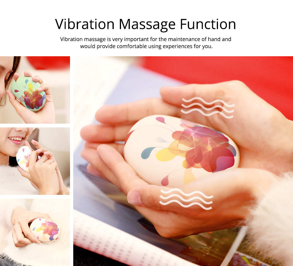 Large Capacity Colorful Vibration Massage Power Bank, USB Rechargeable Flower Pattern Blast-Proof Hand Warmer 2
