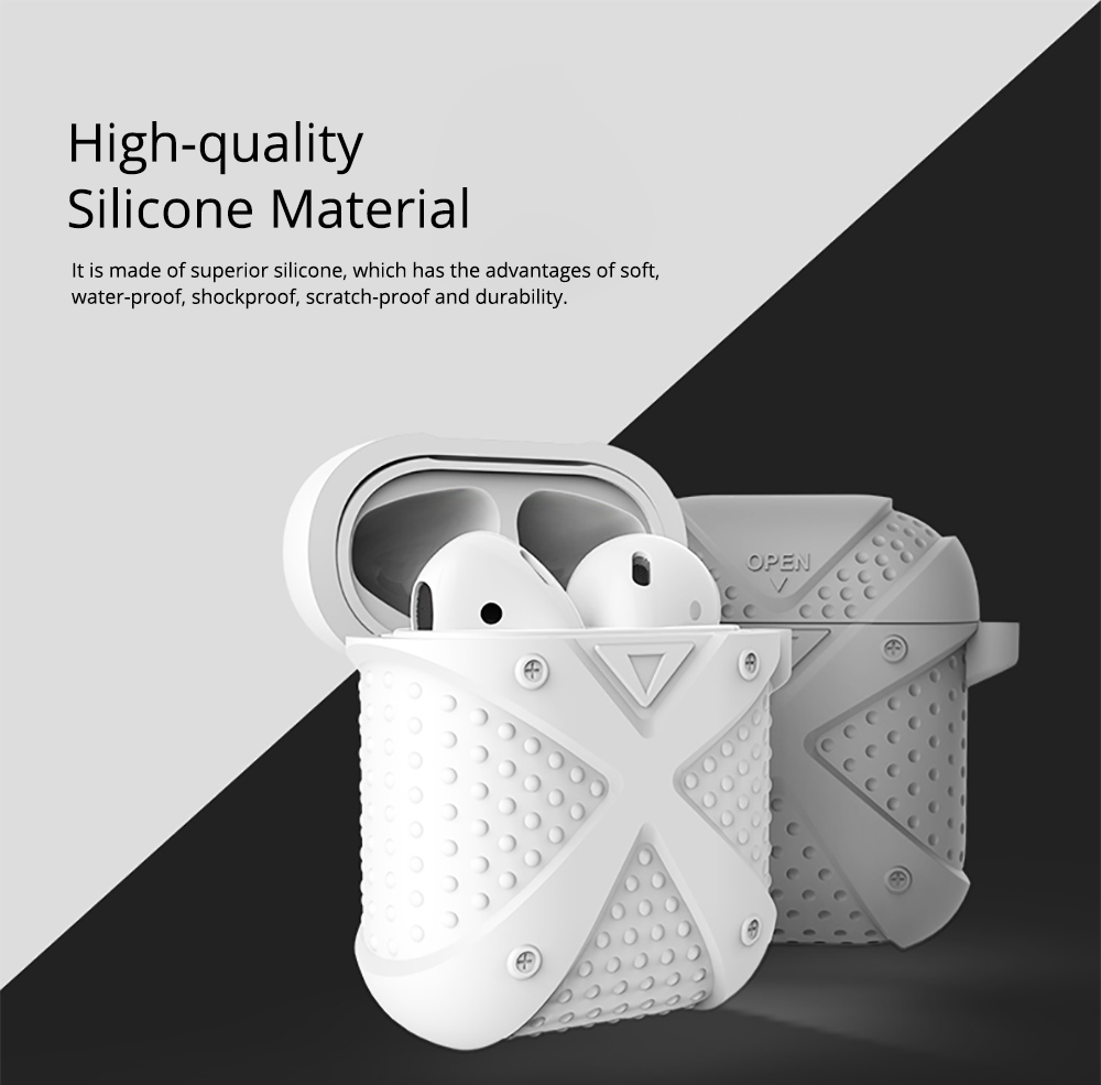 Colorful Armor Model Silicone Airpods Protective Case with Mental Hook, Waterproof Breaking-proof Anti-skid Earphone Protector Pouch Cover 1