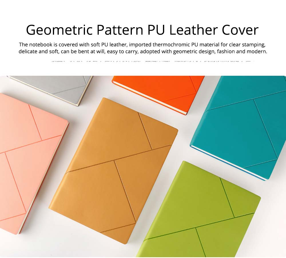 Fashion Geometric Soft PU Leather A5 Notebook Journal Diary, Uncoated Wood-free Paper Schedule Planner Memo Organizer 1