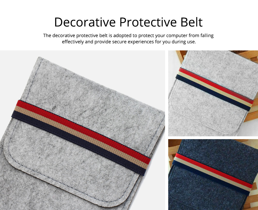 Stylish Tablet Laptop Protective Sleeve for Kindle, Soft Smooth Wool Felt Laptop Notebook Bag with Protective Belt 2