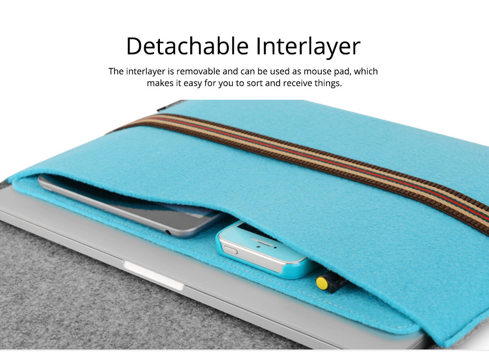 Soft Smooth Imported Wool Felt Tablet Laptop Protective Sleeve, Stylish Laptop Notebook Bag with Protective Belt 1