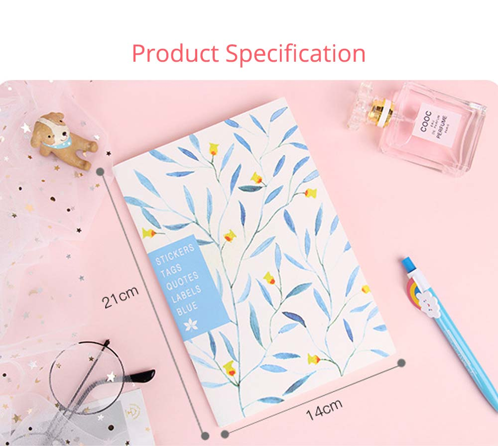 Fresh Style Thin Notebook, 60 Pages Journal Environmental Paper Cover Cartoon Floral Student Diary Jotter, 4PCS 10