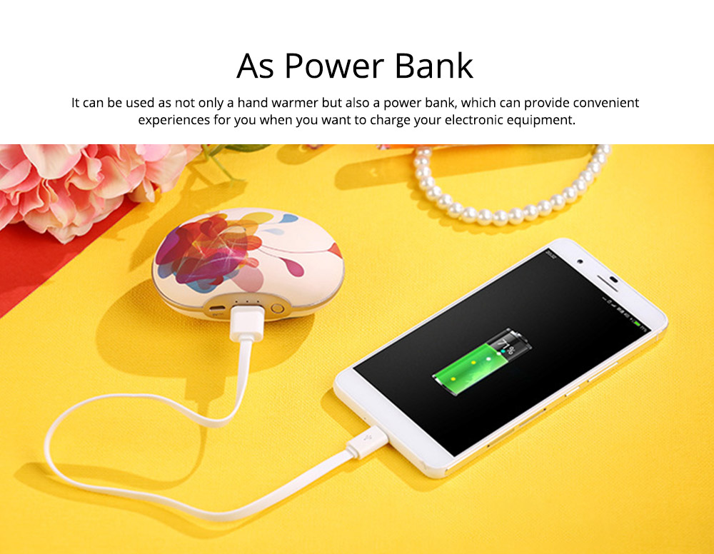 Large Capacity Colorful Vibration Massage Power Bank, USB Rechargeable Flower Pattern Blast-Proof Hand Warmer 1