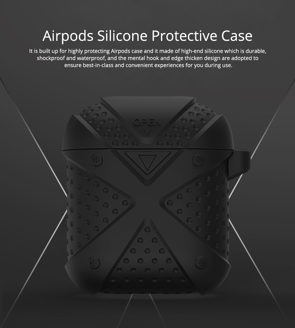 Colorful Armor Model Silicone Airpods Protective Case with Mental Hook, Waterproof Breaking-proof Anti-skid Earphone Protector Pouch Cover 0
