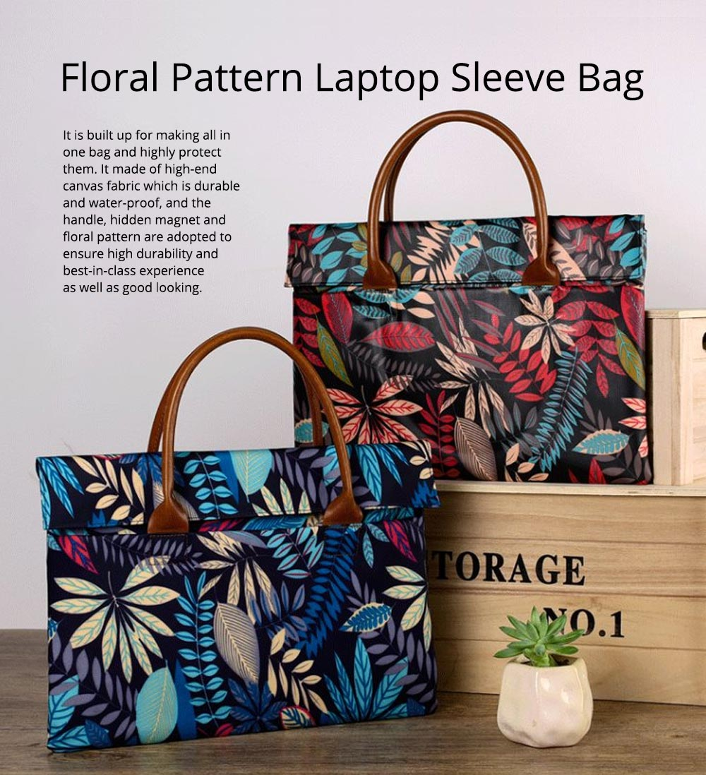 Water-proof Canvas Floral Pattern Laptop Ultrabook Sleeve Chase Bag Cover, Pouch Laptop Bag for Different Size of Computers 0