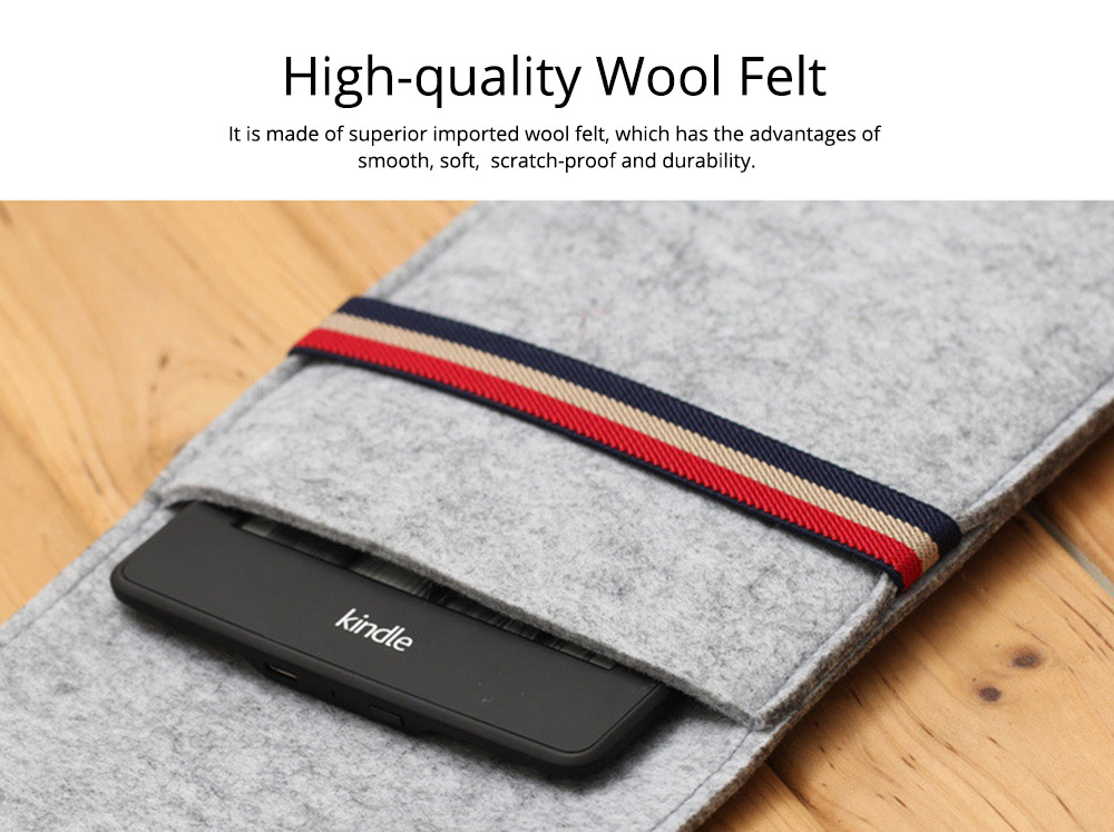 Stylish Tablet Laptop Protective Sleeve for Kindle, Soft Smooth Wool Felt Laptop Notebook Bag with Protective Belt 1