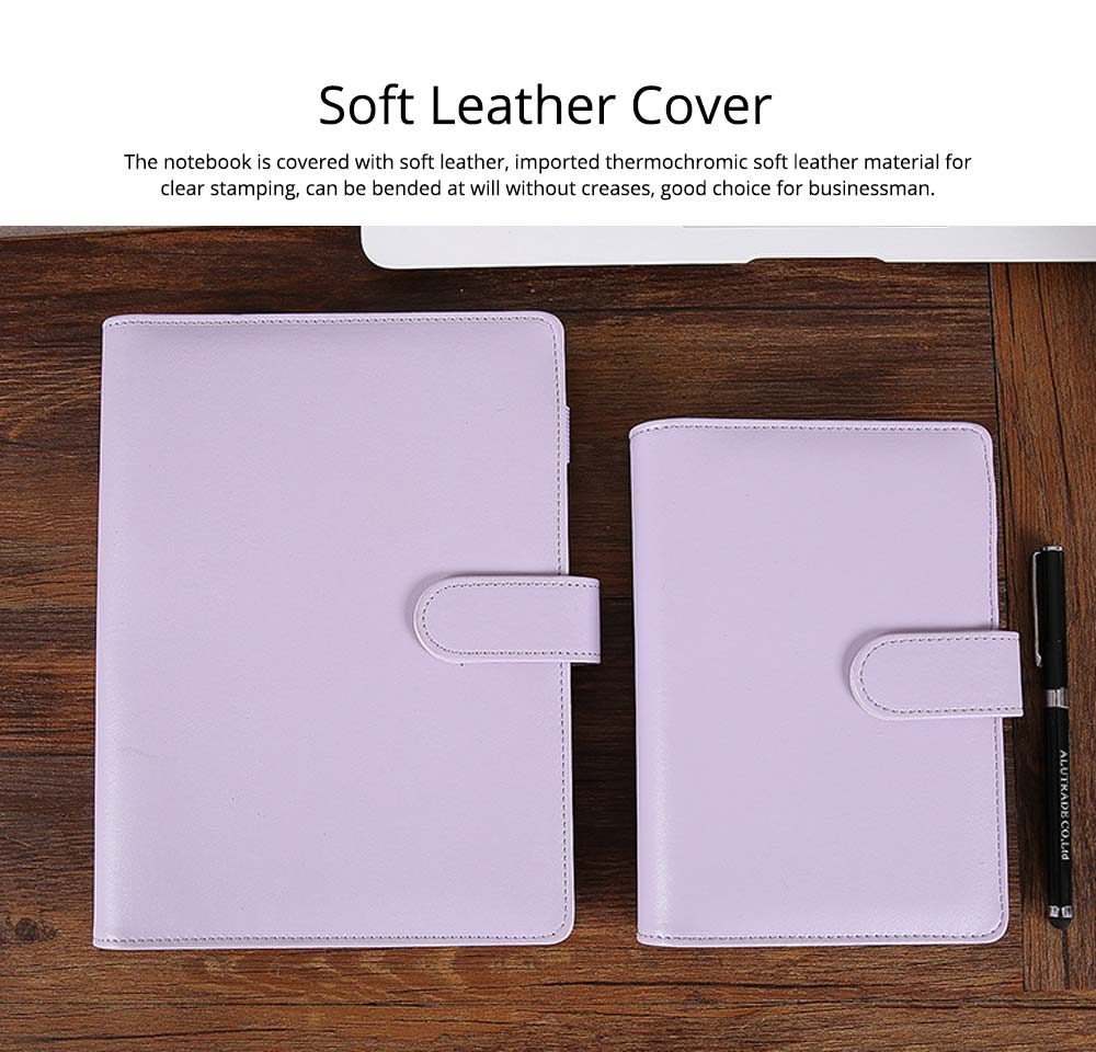 Multifunctional Loose-leaf Magnetic Buckle Notebook, A5/A6 Diary Jotter with Built-in Card Bag 1